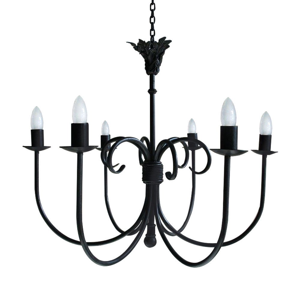 SCROLL THISTLE 6 LIGHT CHANDELIER WITH CANDLE SLEEVES