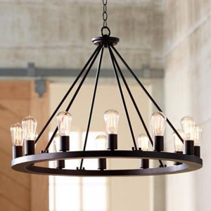 Modern On Ring Large Round Chandelier With Shades Lamps